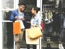 Couple Shopping Outdoors Store Lifestyle Concept Stock Images