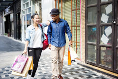 Couple Shopping Outdoors Store Lifestyle Concept Royalty Free Stock Photography