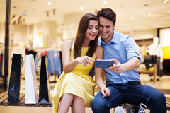 Couple after shopping Royalty Free Stock Photography