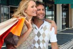 Couple on a shopping spree Stock Photo
