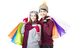 couple shopping together with winter wear Royalty Free Stock Photos