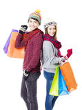Couple shopping together with winter wear Stock Photos