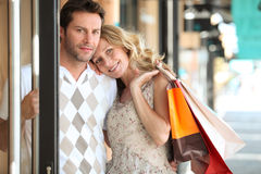 Couple shopping in town Stock Photography
