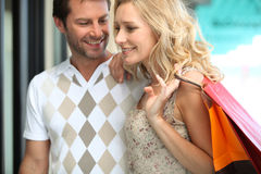 Couple on shopping trip Royalty Free Stock Image
