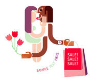 Couple Shopping - vector icon Stock Photo