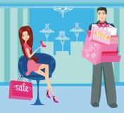 Couple on shopping Royalty Free Stock Image