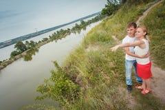 Couple on the shore Stock Photos