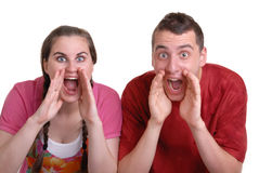 Couple shouting an announcement Royalty Free Stock Photography