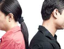 Couple Showing Back to Each Other. Royalty Free Stock Image