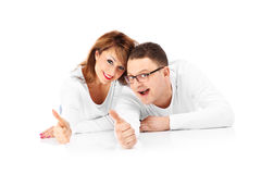 Couple showing ok signs Stock Images