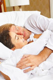 Couple showing romance on bed Royalty Free Stock Photography
