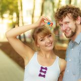 Couple showing their new house keys Royalty Free Stock Image