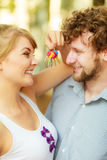 Couple showing their new house keys Stock Photo