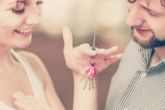 Couple showing their new house keys Stock Photography