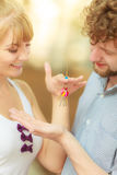 Couple showing their new house keys Stock Images