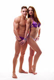 Couple showing their perfect bodies Royalty Free Stock Image