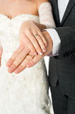 Couple showing their wedding bands Stock Photo