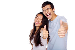 Couple showing thumbs up Royalty Free Stock Photo