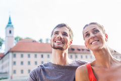 Couple sightseeing at Danube Weltenburg monastery Stock Images
