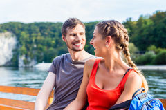 Couple sightseeing at Danube Weltenburg monastery Stock Photo