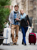 Couple sightseeing and taking pictures of Europenian city Royalty Free Stock Images