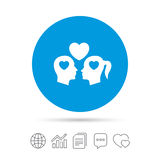 Couple sign icon. Male love female. Lovers. Royalty Free Stock Image
