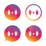 Couple sign icon. Woman plus woman. Lesbians. Stock Images
