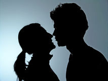 Couple Silhouette. Two People in Silhouete, love, couple Royalty Free Stock Image