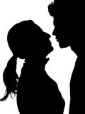 Couple Silhouette. Two People in Silhouete, love, couple Stock Images