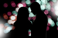 Couple silhouette. Illustration of couple silhouette in a town stock illustration