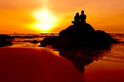 Couple in silhouette Stock Photo