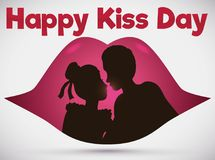 Couple Silhouette inside Lips in Romantic Scene for Kiss Day, Vector Illustration Royalty Free Stock Photos
