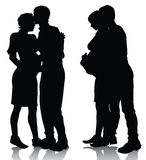 Couple silhouette expecting a baby. Vector illustration Royalty Free Stock Photography