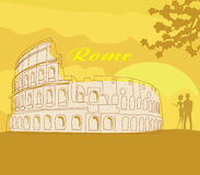 Couple silhouette in front of Colosseum in Rome. Vector illustration Royalty Free Stock Image
