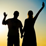 Couple silhouette Stock Photography