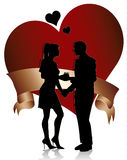 Couple silhouette with heart and ribbon Stock Images