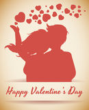 Couple Silhouette with Hearts, Vector Illustration Stock Image