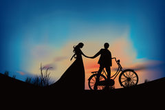 Couple Silhouette Illustration Design Stock Images