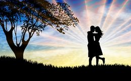 Couple silhouette kissing at sunset beautiful nature. Lovers silhouette hugging and kissing in front of the sunset, surreal sun burst rays on blue and yellow sky stock illustration