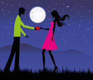 Couple silhouette in love Stock Image