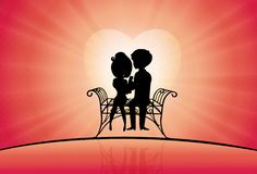 Couple silhouette in love sitting on a bench Royalty Free Illustration