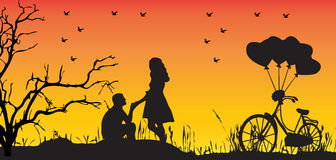 Couple. Silhouette of couple in love at sunset Royalty Free Stock Image