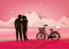 Couple silhouette Stock Image