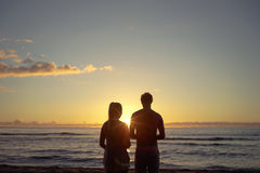 Couple Silhouette Sunset Stock Photos