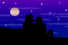 Couple Silhouette Watching the Moonscape Royalty Free Stock Photography