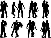Couple silhouettes royalty free illustration