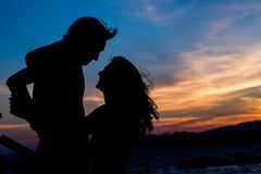 Couple silhouettes. Love royalty free stock photo