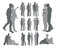 Couple silhouettes pregnant woman Royalty Free Stock Photography