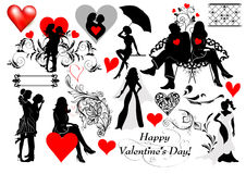 Couple silhouettes set for valentine's design Stock Photos