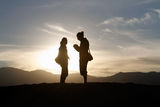 Couple Silhoutte Zabriske Point Stock Photos
